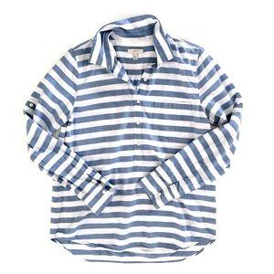 J. Crew Women's Blue Striped 1/2 Button Shirt 12